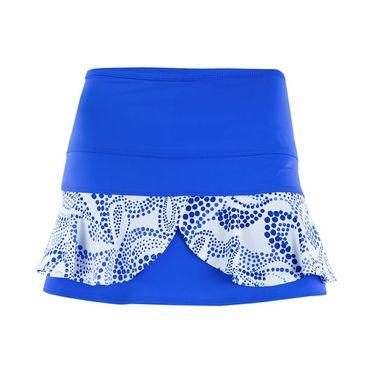 Jerdog Paisley Dot Double Scallop Skirt - Royal/White Print Trim