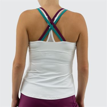Lija Zest For Life Criss Cross Tank Womens White/Pansy/Teal 19A 1618T2