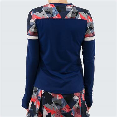 Lija Get In The Game Pacer Top Womens Midnight Blue/Mixed Media 19A 1625T3