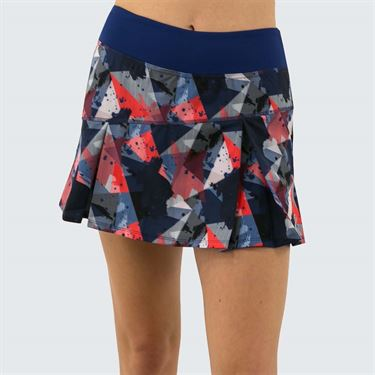Lija Get In The Game Top Spin Skirt Womens Mixed Media/Midnight Blue 19A 4495T3