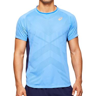 Asics Elite Tennis Shirt Mens Blue Coast 2041A079 400