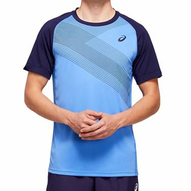 Asics Club Graphic Tee Shirt Mens Blue Coast 2041A085 400