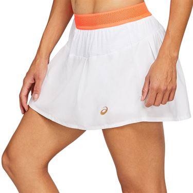 Asics Tennis Skirt Womens Brilliant White/Sunrise Red 2042A095 103