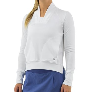 Lija Winning Streak Plunge Pullover Top Womens White 20S 1672T2