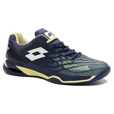 Lotto Mirage 100 Speed Mens Tennis Shoe Navy Blue/Yellow Neon/All White 210732 6VD