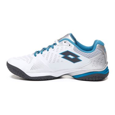 Lotto Space 400 All Round Mens Tennis Shoe - White/Asphalt/Mosaic Blue