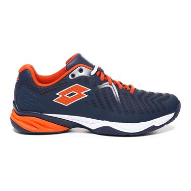 Lotto Space 400 All Round Mens Tennis Shoe - Navy Blue/Red Orange/White