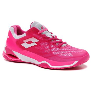 Lotto Mirage 100 Speed Womens Tennis Shoe Glamour Pink/All White/Vivid Fuchsia 210739 6VK