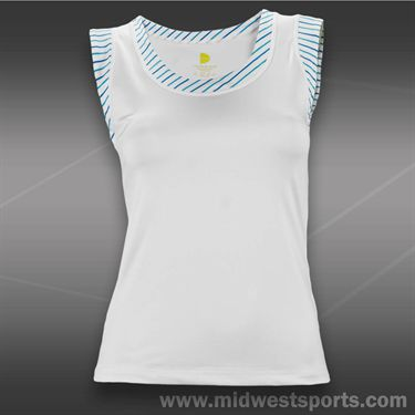 Pure Lime Blue Pinstripe Trim Tank-White