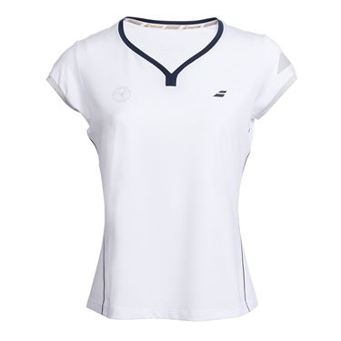 Babolat Wimbledon Perf Cap Sleeve Top - White Grey