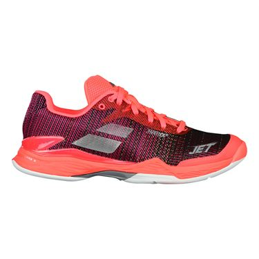 Babolat Jet Mach II Clay Womens Tennis Shoe - (RUNS SMALL - SIZE UP 1/2 SIZE) Fluo Pink/Silver