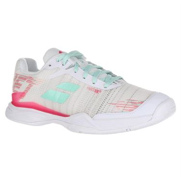 Babolat Jet Mach II All Court Womens Tennis Shoe (RUNS SMALL - SIZE UP 1/2 SIZE) White/Pink