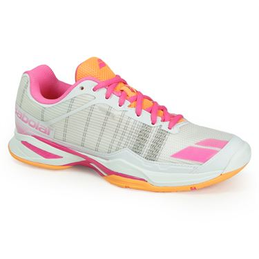Babolat Jet Team All Court Womens Tennis Shoe - White/Orange/Pink