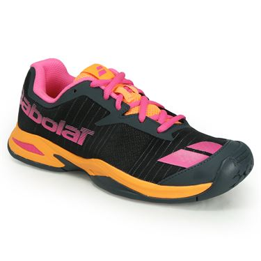 Babolat Junior Jet All Court Tennis Shoe - Grey/Orange/Pink