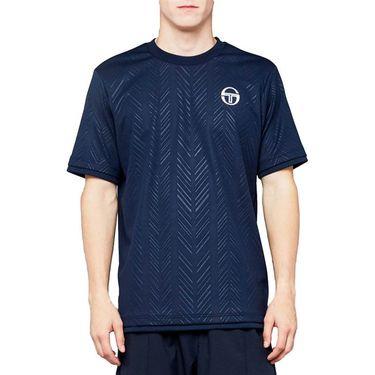 Sergio Tacchini Roland Garros Chevron Crew Shirt Mens Navy/White 38494 200