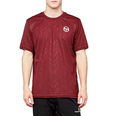 Sergio Tacchini Chevron Crew Shirt Mens Bordeaux/White 38494 650