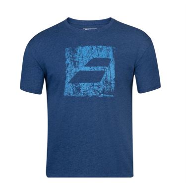 Babolat Exercise Big Flag Tee Shirt Mens Estate Blue Heather 4MS20442 4005