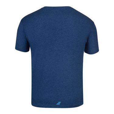 Babolat Exercise Big Flag Tee Shirt Mens Estate Blue Heather 4MS20442 4005