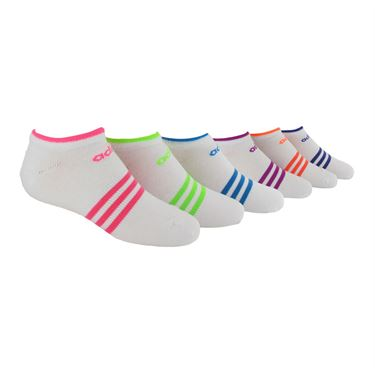 adidas Girls Superlite No Show Sock (6 pack) - White/Solar Pink/Solar Green/Solar Blue