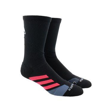 adidas Traxion Tennis Crew Sock - Black/Shock Red