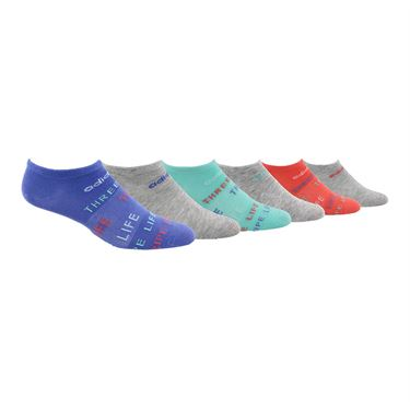 adidas Girls Superlite 3 Stripe Life No Show Sock (6 Pack) - Multi Color