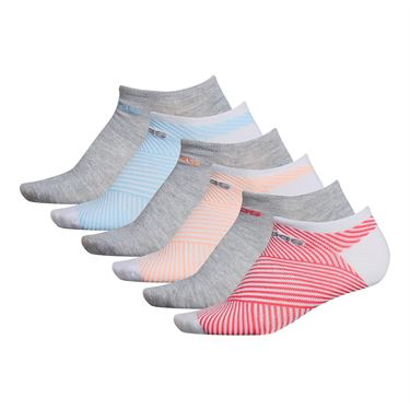 adidas Superlite adiAngle 6 Pack No Show Sock - White/Cool Light Heather/Real Pink/Glow Pink