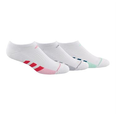 adidas Cushioned II Womens No Show (3 Pack) - White/Multi
