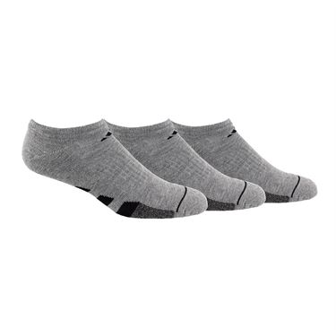 adidas Cushioned II 3 Pack No Show Sock - Grey Heather/Black