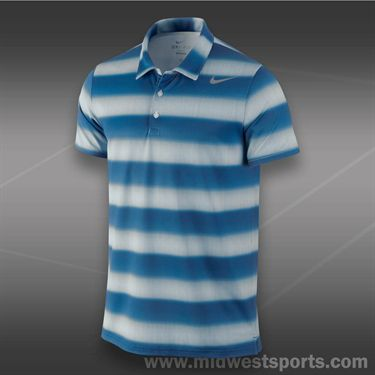 Nike Rally Sphere Stripe Polo- Military Blue
