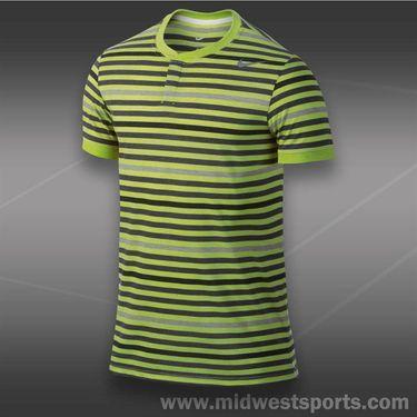 Nike Dri Fit Touch Stripe Henley- Dark Cyber Heather
