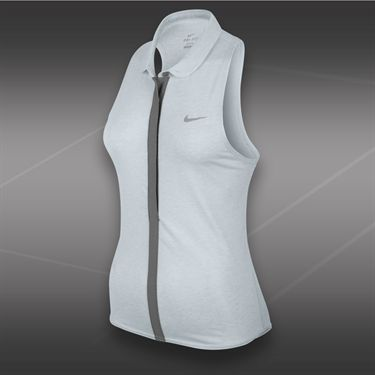 Nike Dri Fit Sleeveless Touch Polo-Birch Heather