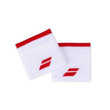 Babolat Logo Wristband - White/Tomato Red