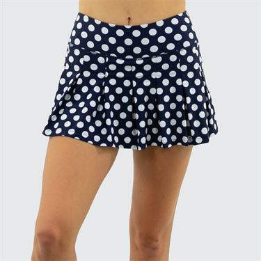 BPassionit Modern Print White Dot Pleated Skirt Womens Navy/White 61625 NVY