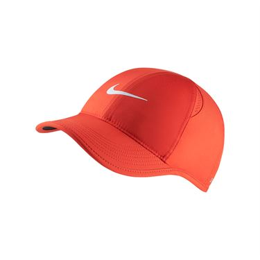 Nike Womens Court Aerobill Featherlight Hat - Habanero Red/White