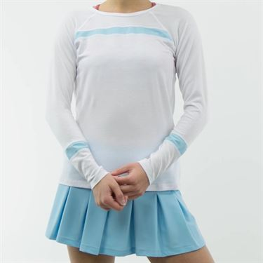 B Passionit Refresh Long Sleeve Top - White/Blue Sky