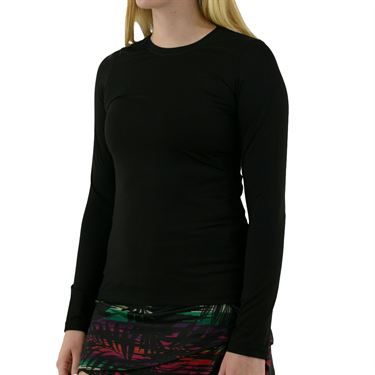 Sofibella UV Long Sleeve Top Plus Size Womens Black 7013 BLKP