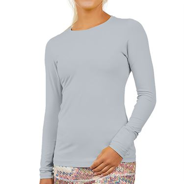 Sofibella UV Colors Long Sleeve Top Plus Size Womens Stone 7013 STOP