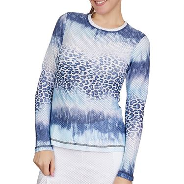 Sofibella Air Flow Long Sleeve Top Plus Size Womens Panther Wash 7013W PANP