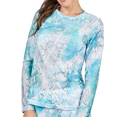 Sofibella Air Flow Long Sleeve Top Womens Watercolor Print 7013W WTC