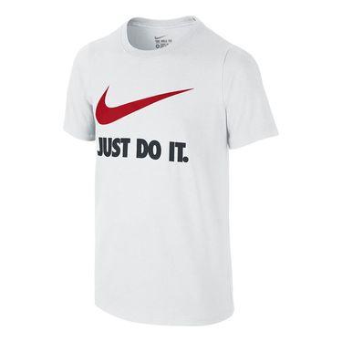 Nike Boys Swoosh Training Tee - White/University Red