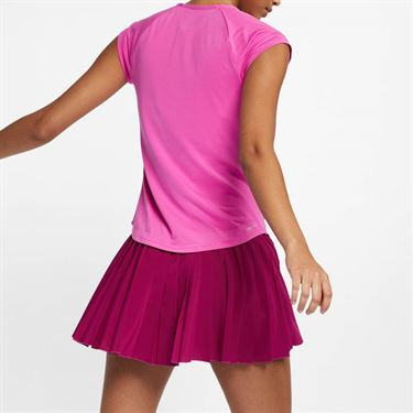 Nike Court Pure V Neck Top - Active Fuchsia