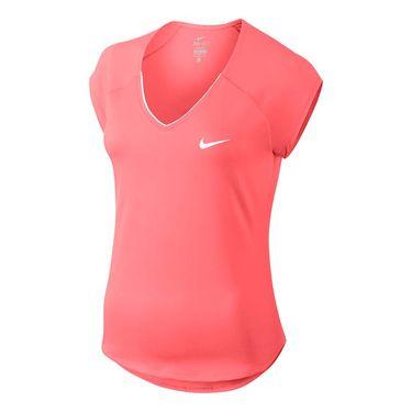 Nike Court Pure V Neck Top - Lava Glow/White