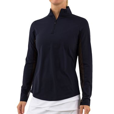 IBKUL Long Sleeve Zip Mock Womens Black 80000