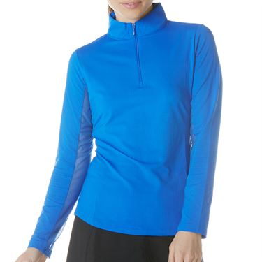 IBKUL Long Sleeve Zip Mock Top Womens Blue 80000 BLUû