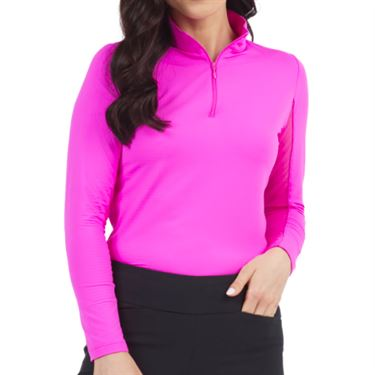 Ibkul Mock Neck 1/4 Zip Long Sleeve - Hot Pink