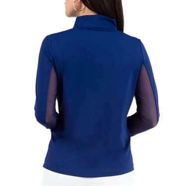 Ibkul Solid Long Sleeve 1/4 Zip Mock Top Womens Navy 80000 NVY