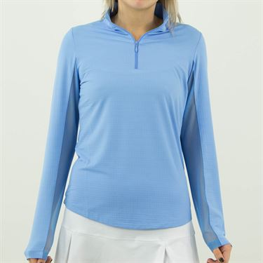 Ibkul Solid Long Sleeve 1/4 Zip Mock Top Womens Periwinkle 80000 PER