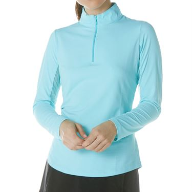 IBKUL Long Sleeve Zip Mock Top Womens Seafoam 80000 SFM