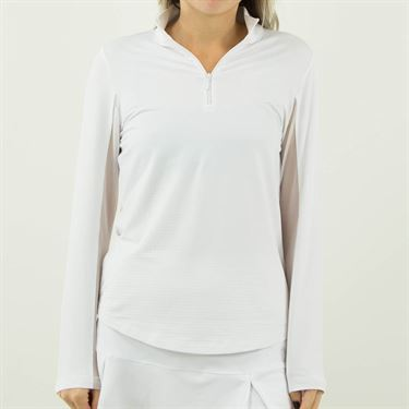Ibkul Mock Neck 1/4 Zip Long Sleeve - White
