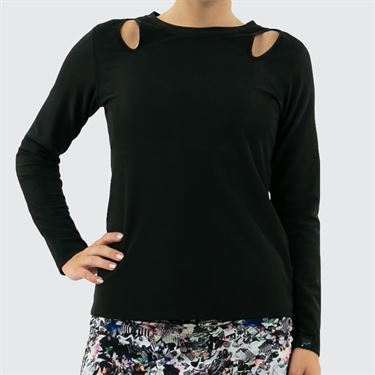 BPassionit Modern Print Rib Long Sleeve Top Womens Black/White 80173R BLK